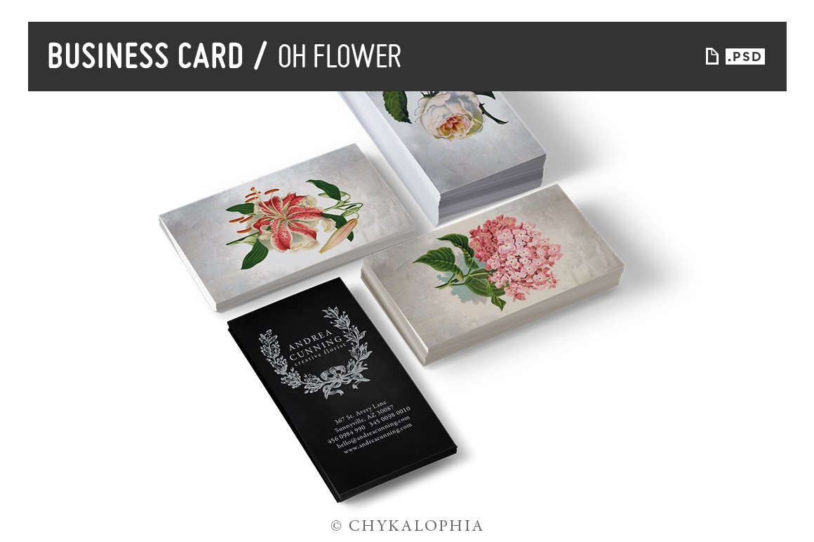 Oh Flower Business Card - PSD ~ Business Card Templates ~ Creative ...