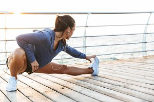 Fitness woman make stretching exerci