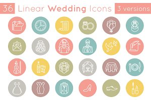 Flat Linear Wedding Icons