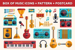 Music Icons Box + Pattern + Postcard
