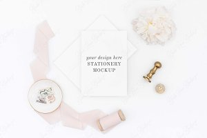 Wedding Invitation Mockup Flat Lay