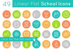 Flat Linear School Subjects Icons