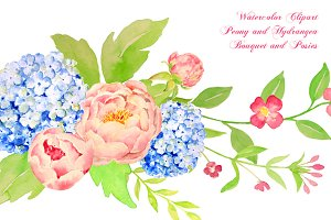 Watercolor Peony Hydrangea Bouquet