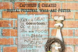 Wall Art Poster- God Is Great- Wood