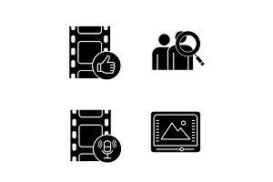 Film industry glyph icons set