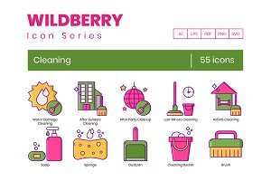 55 Cleaning Icons | Wildberry Series