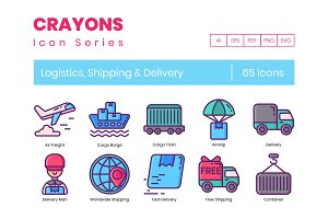65 Logistics Icons | Crayons Series