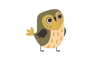 Cute Adorable Owlet Bird Cartoon