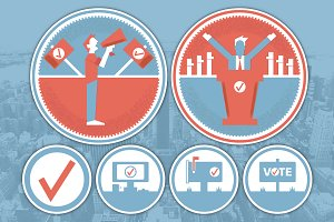 Political Action Badges & Icons Set
