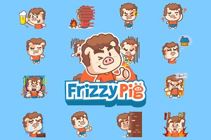 Frizzy Pig Sticker