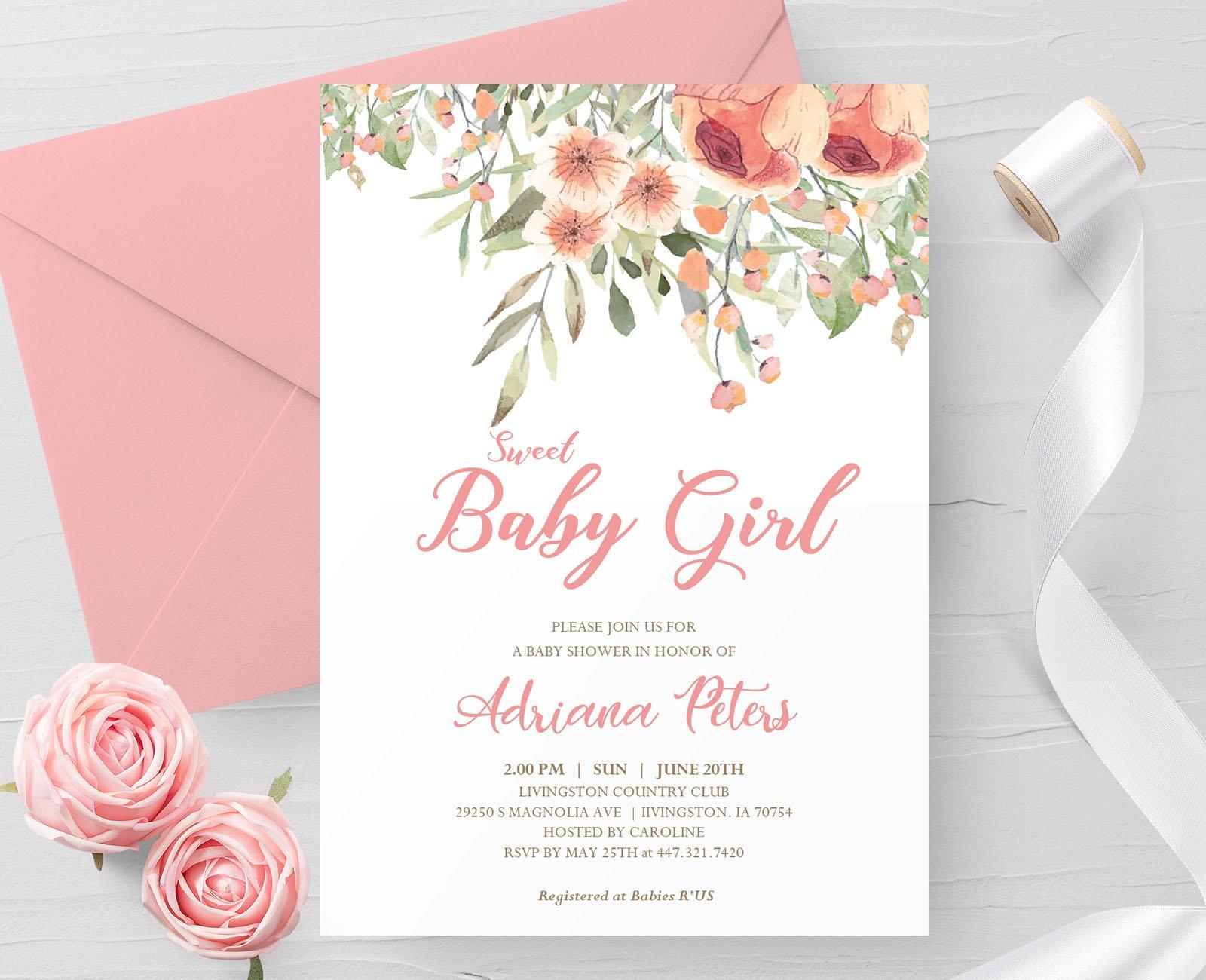 Editable Baby Shower Invitation Creative Invitation Templates Creative Market
