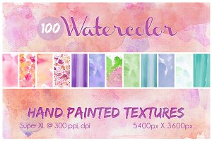 100 Hand Painted Watercolor Textures