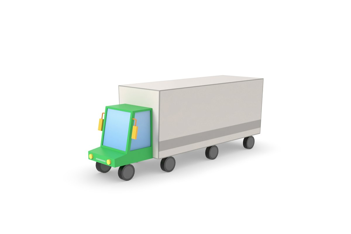 Truck lorry vehicle low poly simple