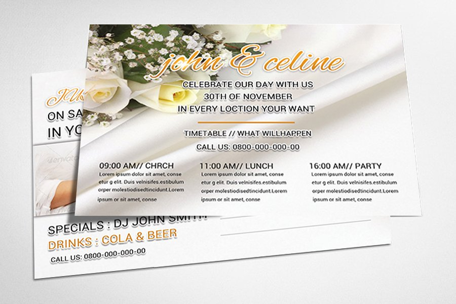 Wedding Invitation Postcard Psd Card Templates Creative Market
