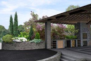 Arrangement patio living space, 3D