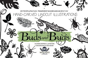 Buds and Bugs Linocuts