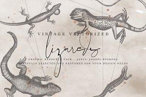 VintageVectorized-Lizards Clipart