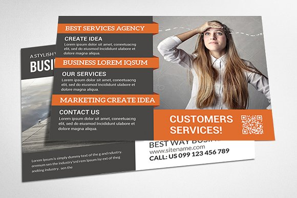 Corporate business postcard template card templates creative market flashek Images