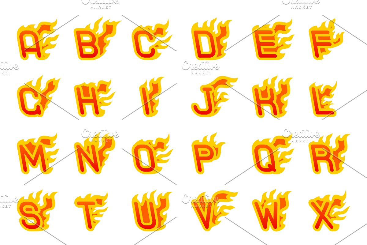 Fiery a to z letters burning abc