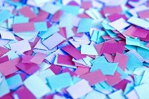 blue purple carnival confetti