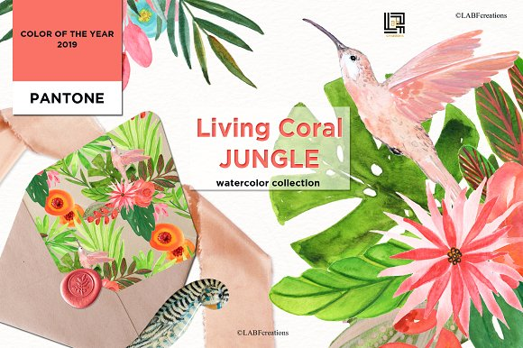 Living Coral Tropical Watercolor in Illustrations - product preview 10