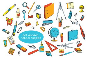 The Set doodles school supplies