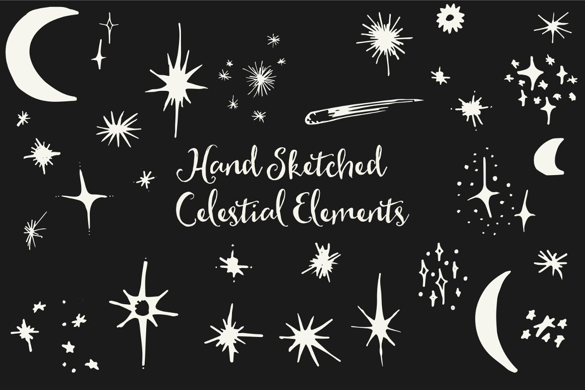 hand drawn celestial elements 5
