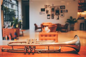 Old trumpet in vintage living room