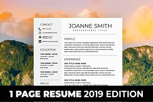 1 Page Resume Template - One Page CV