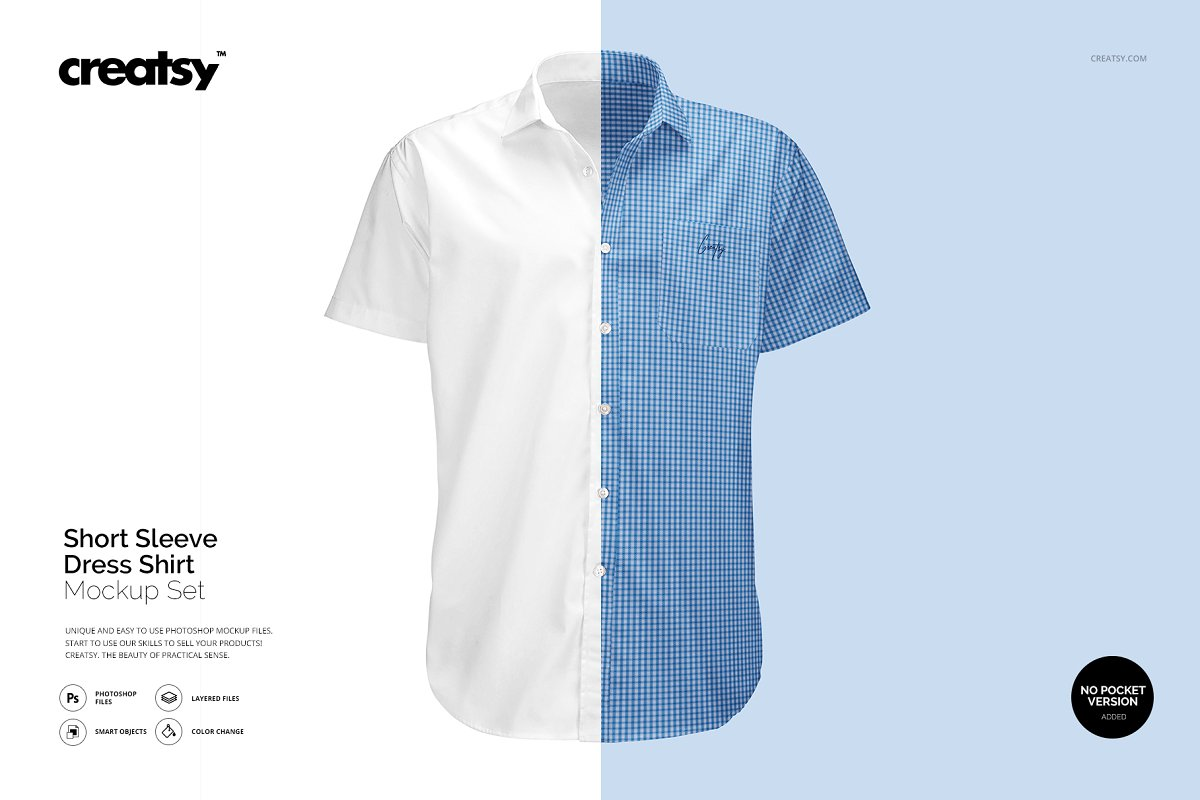 27d8dba60 Short Sleeve Dress Shirt Mockup ~ Product Mockups ~ Creative Market