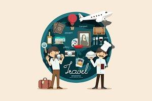Boy travel plan on vacation design