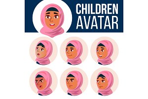 Arab, Muslim Girl Avatar Set Kid