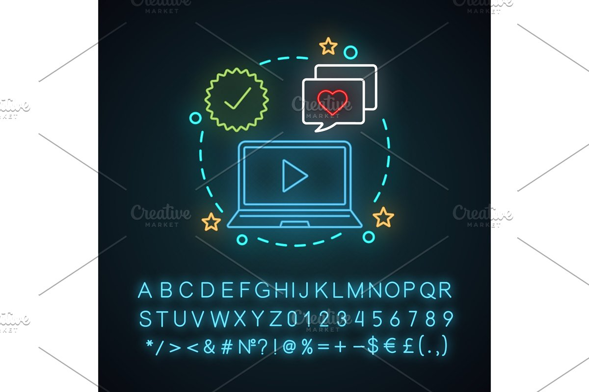 Video marketing neon light icon