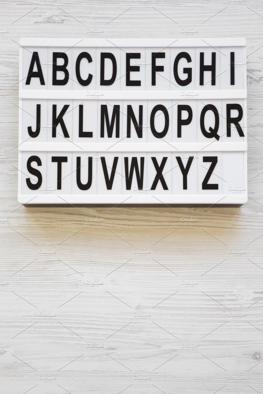 English alphabet on modern board