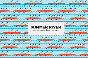 Summer river seamless vector pattern