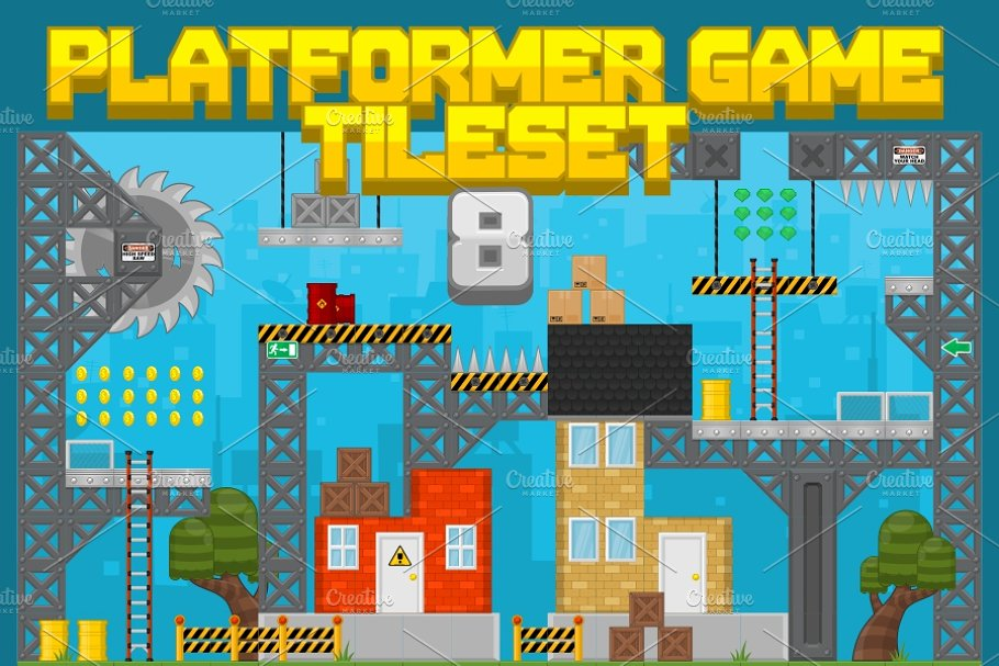 Platformer Game Tile Set 8 ~ Illustrations ~ Creative Market