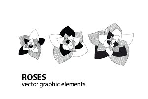 Roses-vector graphic elements