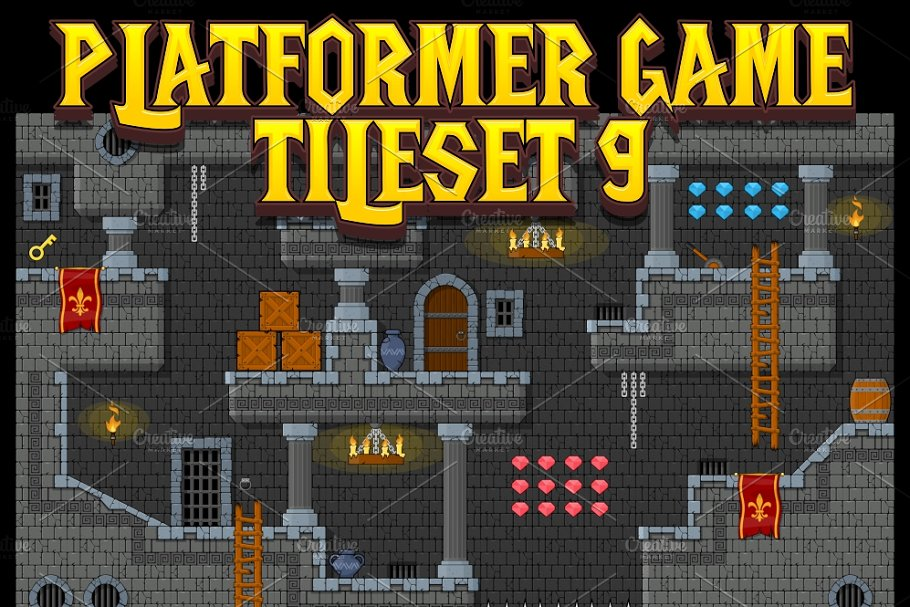 Platformer Game Tile Set 9 ~ Illustrations ~ Creative Market