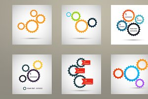 Vector set color design gears