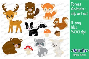 Forest Animals - clip art set