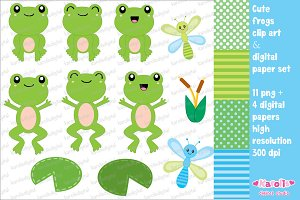 Cute Frogs - clip art set