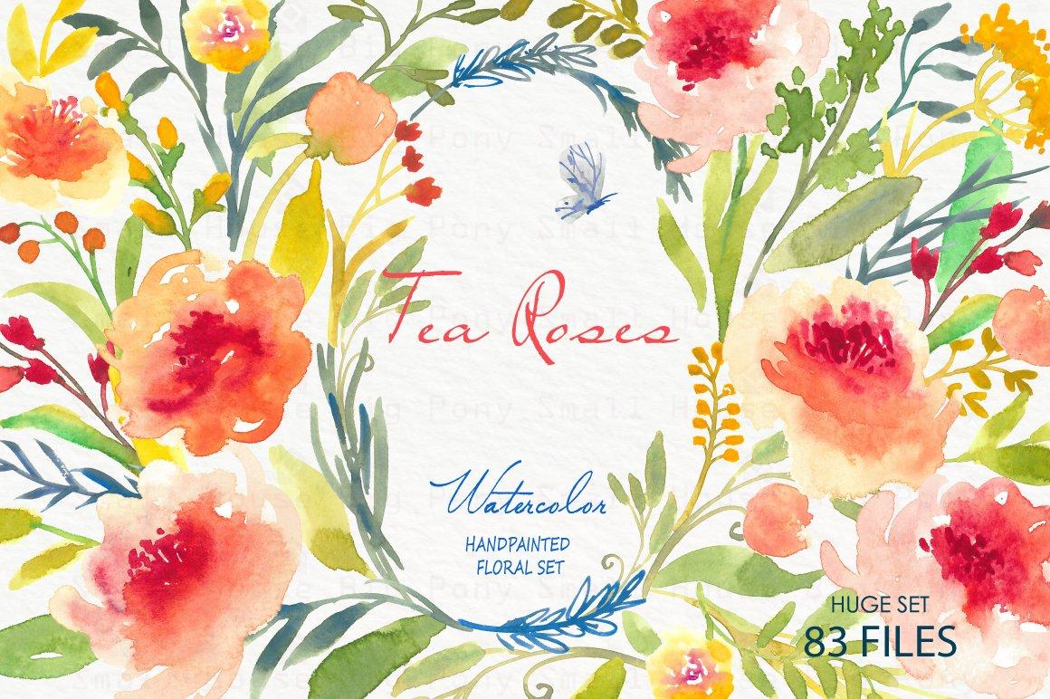 Tea Rose Clipart Black And White: Tea Roses-Watercolor Clip Art