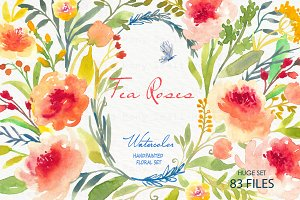 Tea Roses-Watercolor Clip Art