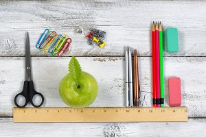 Education supplies on ruler