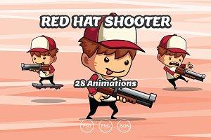 2D Game Asset - Red Hat Shooter Boy