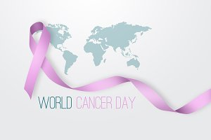 Pink ribbon over the world