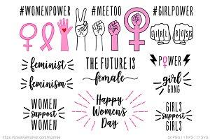 Womes's day, feminist set, vector
