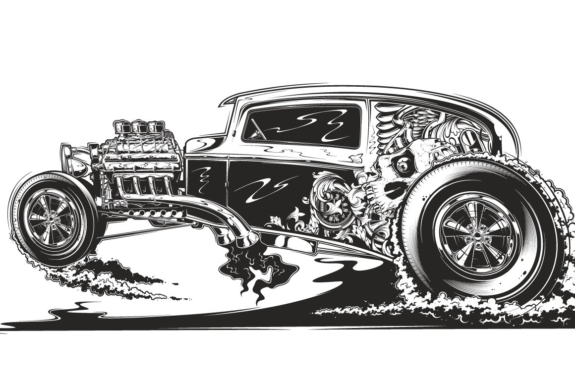 It's just a graphic of Remarkable Drawing Of Hot Rods