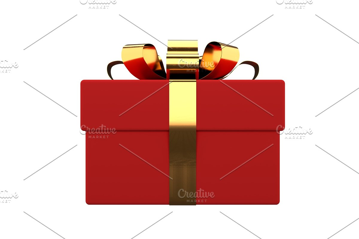 gift box with golden ribbon and bow