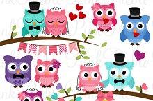 Wedding Owls Clipart and Vectors
